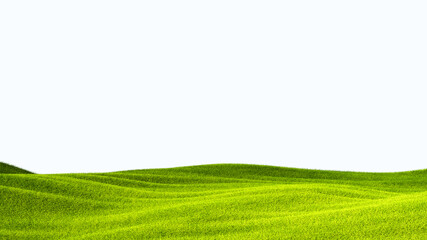 Fototapeta green field isolated against a white background