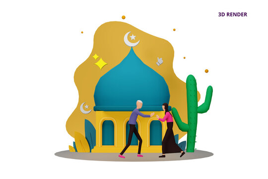 3D render happy ramadan mubarak greeting concept with people character for web landing page template, banner, presentation, social, and print media. islamic eid fitr or adha flat design illustration