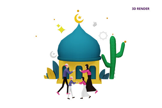 3D render islamic design illustration concept for Happy eid mubarak or ramadan greeting with people character. template for web landing page, banner, presentation, poster, ad, promotion or print media