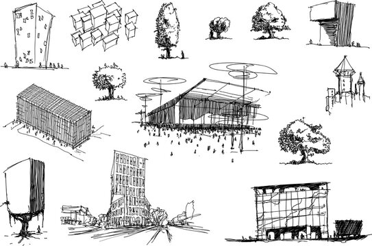 many hand drawn architectectural sketches of a modern abstract architecture and detached houses and urban ideas and trees