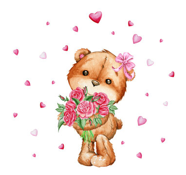 Cute bear, pink bow on his head, Holding a bouquet of red roses. Watercolor illustration, in cartoon style, on an isolated background, for children's parties.