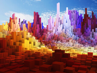 3D abstract cube landscape against blue sky background