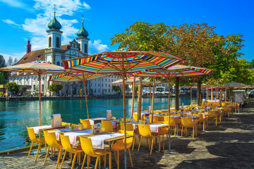 Street cafe on the shore of the Reuss river, Lucerne