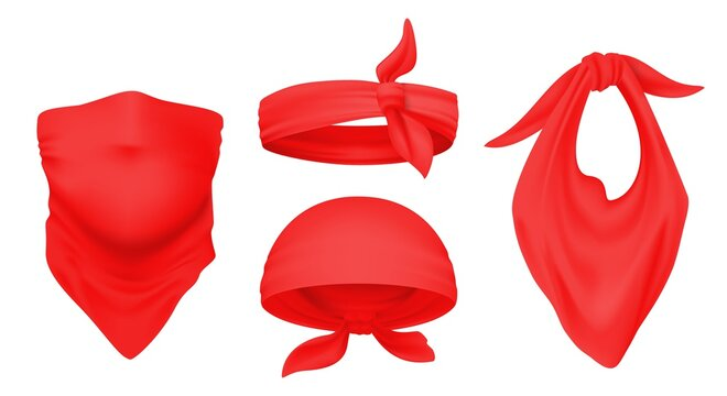 Red bandana. Realistic 3D headbands. Ways to wear scarf on head and neck. Isolated tied kerchiefs template. Trendy accessories set, unisex headgear or face bandage, vector headwear