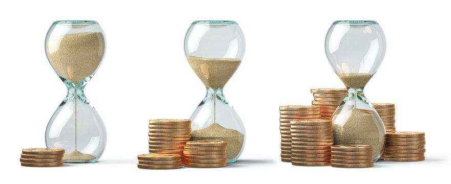 Golden coins and hourglass clock isolated on white. Return on investment, deposit, growth of income and savings, time is money concept. Business success.