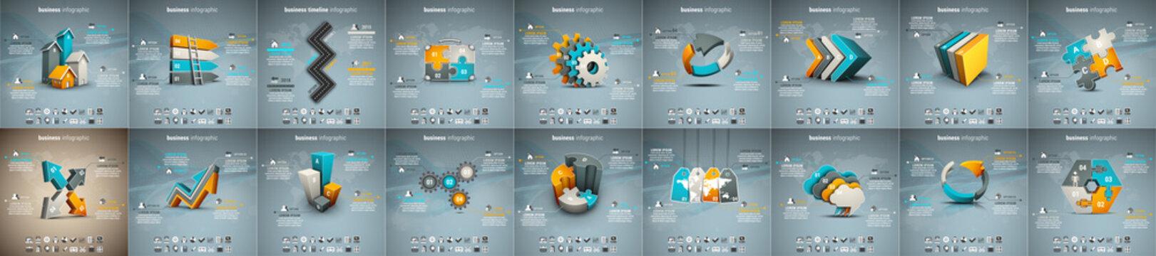 Best infographic templates presentation slides set. Circle diagrams, timelines, light bulb, puzzle brain head, brush stroke banners. Medicine, education, ecology, business infographics.