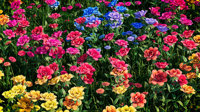 Multicolored Flower Background. Floral Wallpaper with Blue, Pink and Yellow Roses. 3D Render
