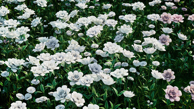 Multicolored Flower Background. Floral Wallpaper with White and Pastel colored Roses. 3D Render