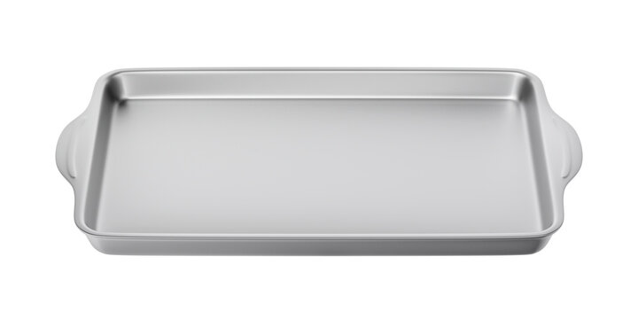 Stainless steel baking pan isolated on white background