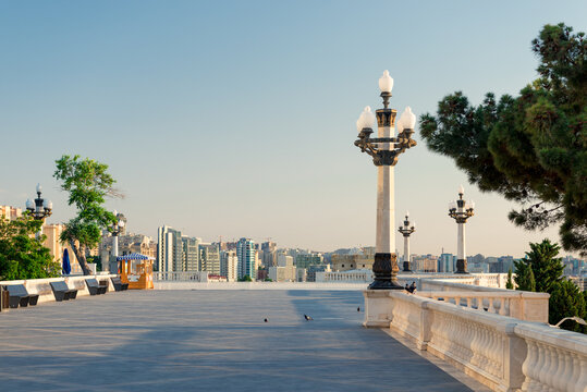 Beautiful marble balustrade with panoramic view on the city center, Baku, Azerbaijan
