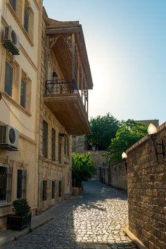 Empty street in old city Icheri Sheher of Baku, Azerbaijan. Architecture of Old city Baku. Inner City buildings.