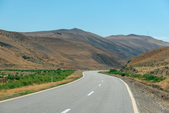Scenic motor road in the desert mountains of Azerbaijan landscape