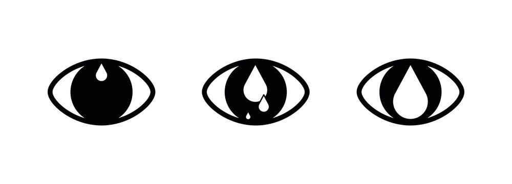 Modern watery eye and drop icon. Creative eye icon in modern line style for your web mobile app logo design. Pictogram isolated on a white background. Editable linear set, pixel perfect vector graphic