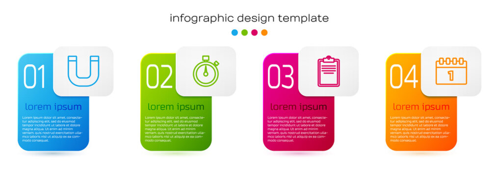 Set line Magnet, Stopwatch, Clipboard with checklist and Calendar first september date. Business infographic template. Vector