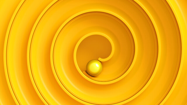 Yellow ball roll through swirl maze viewed from top. Concept of achievement, reaching goals. 3d render illustration
