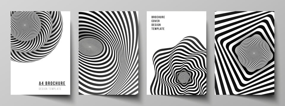 Vector layout of A4 format modern cover mockups design templates for brochure, magazine, flyer, booklet, report. Abstract 3D geometrical background with optical illusion black and white design pattern