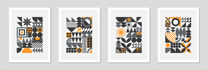 Bundle of abstract bauhaus geometric pattern backgrounds.Trendy minimalist geometric designs with simple shapes and elements.Mid century modern artistic vector illustrations.Scandinavian ornaments.