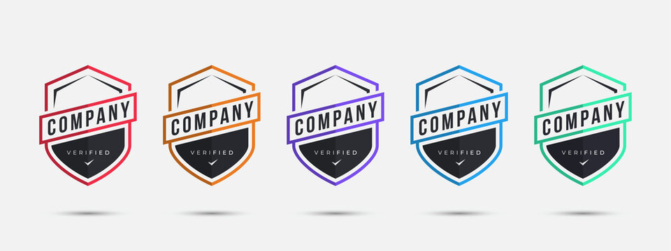 Company logo badge design template. Certified badge design with shield sports shape. Vector illustration.
