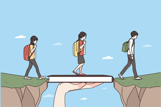 Role of teacher in education concept. Teacher hand holding book bridging gap in primary education for children passing by vector illustration