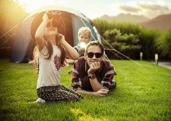 Canvas Prints Artist KB Cheerful family realxing on a camp