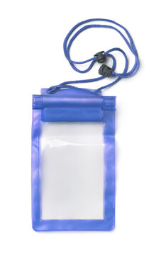 Front view of empty plastic waterproof smartphone pouch
