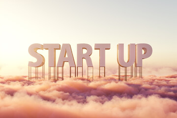 Large signboard with word startup above pink pastel clouds
