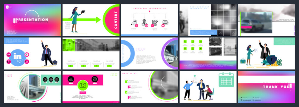 Business presentation, powerpoint infographic design template, colored elements, white background, set. Team of people creates a business, teamwork. Financial work, businessman. Use of flyers, SEO