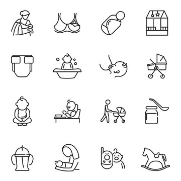 Collection of nursery mother father baby care monochrome icon vector motherhood parenthood childhood