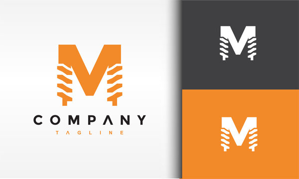 letter M drill logo