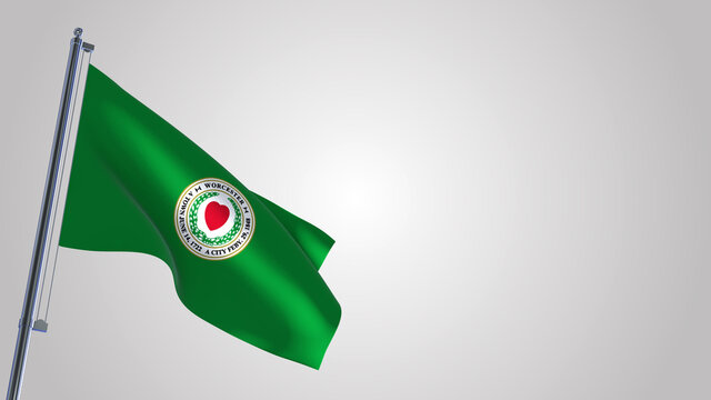 Worcester Massachusetts 3D waving flag illustration on a realistic metal flagpole. Isolated on white background with space on the right side.