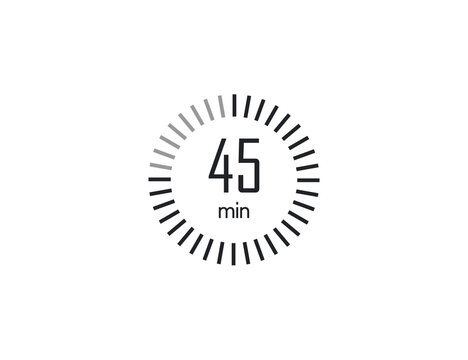 The 45 minutes, stopwatch, digital timer. clock and watch, Vector illustration.