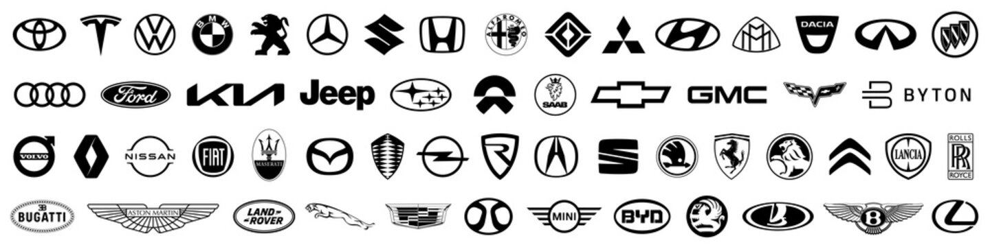 Kiev, Ukraine - March 27, 2021: Set logo of popular brands of cars, collection of car emblems. Top automotive industry leaders. Black automobile emblems sign. Logo of cars brand. Editorial vector
