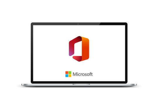 Kiev, Ukraine - March 27, 2021: Microsoft Office logo on laptop screen. Software developed by Microsoft. Editorial vector