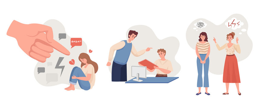 Emotional abuse vector flat illustration. Depressive woman sitting and crying against pointing hand, man yelling on colleague, aggressive woman scolds friend. Harrassment, abuse, or bullying concept.