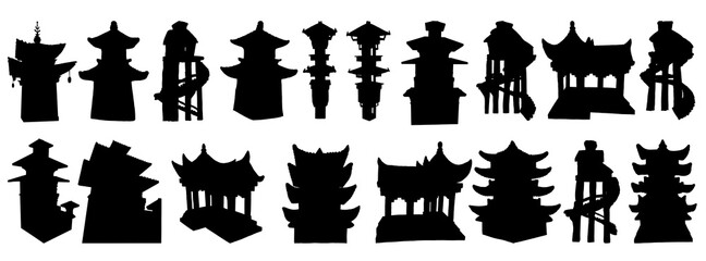 Set of Japanese pagodas, Chinese temple or Buddhist monastery and Tree house on stilts for living in jungles. China religious architecture. Watch towers set, Eastern Han Dynasty. Vector.