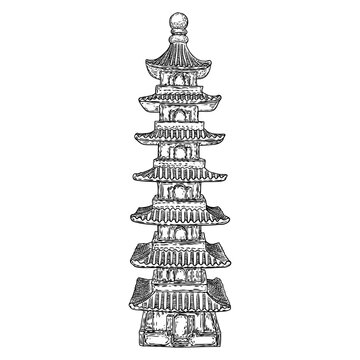 Japanese pagoda landmark, Buddha and saint tomb near temple in traditional Japan style. Architecture building made of wood. Spiritual stupa or monument with tiers and roof eaves. Vector.