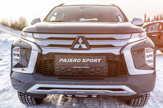 Moscow, Russia - February 17, 2021: All new Mitsubishi Pajero Sport. Details. Closeup of