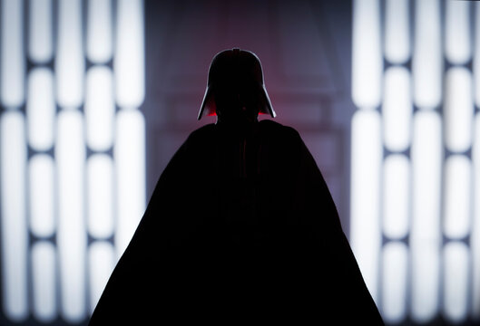 NEW YORK USA - APRIL 8 2021: Silhouette of Star Wars Sith Lord Darth Vader - Hasbro action figure