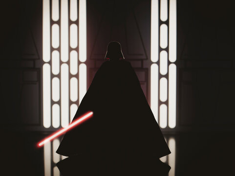 NEW YORK USA - APRIL 8 2021: Silhouette of Star Wars Sith Lord Darth Vader with red lightsaber -  Hasbro action figure