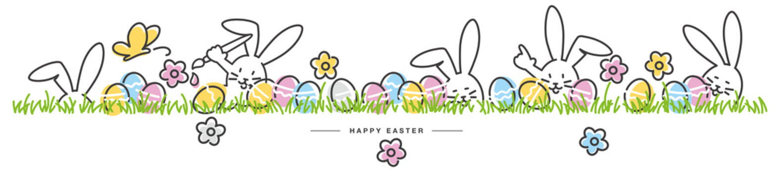 Happy Easter egg hunt handwritten art line design of cute smiling Easter bunnies with flowers and eggs in grass on white isolated background great for Easter Cards, banner, textiles, wallpapers