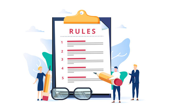 Rules vector illustration. Flat tiny regulations checklist persons concept. Restricted graphic writing with law.