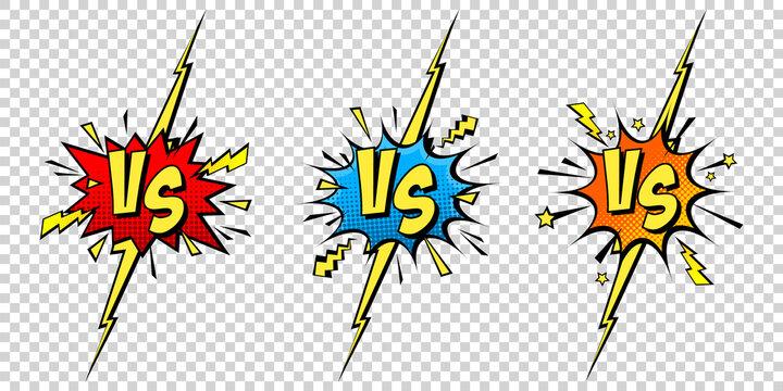 Comic challenge background. Cartoon battle, fight border. Versus or vs frame with lightning. Sports team competition poster. Vector illustration.