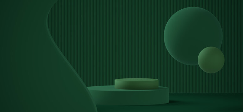 green abstract scene with a podium for mockup 3D rendering background