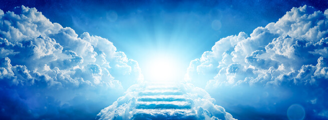 Fototapeta Stairway Through Clouds Leading To Heavenly Light obraz