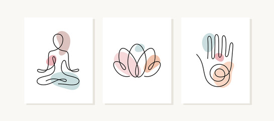 Yoga posters. One line vector illustration. Lotus position, lotus flower and hand, spiritual sign.