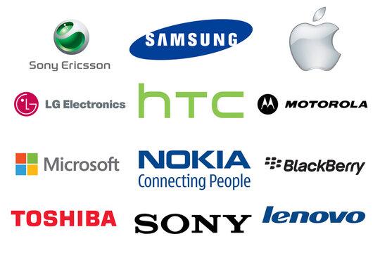 Logo marki popularnych producentów telefonów smartfonów