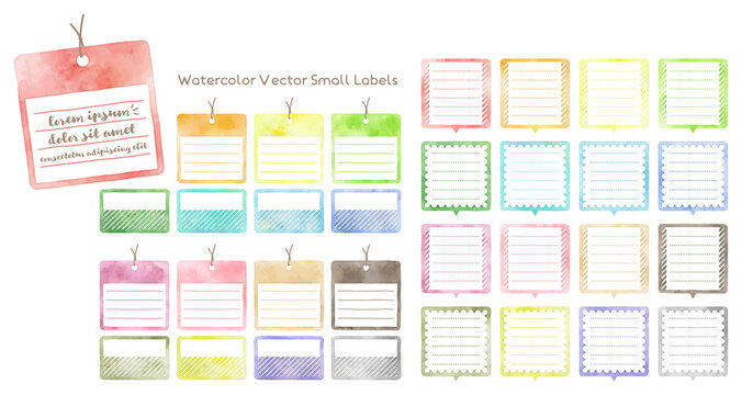 colorful watercolor vector small labels