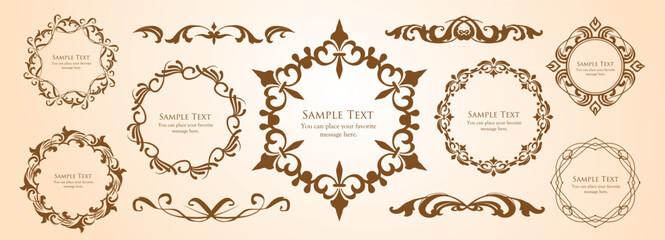 ヴィンテージフレームデザインセット。上質で美しいパターンデザイン
