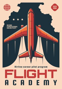 Flight academy retro vector poster. Modern plane flying in sky, airplane aviation school airline career pilot flight training program. Educational courses for aviators and fliers advertising card