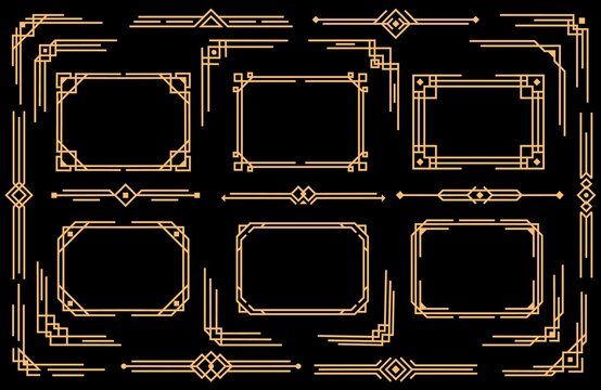 Art deco vector elements line borders, frames, dividers and corners. Decorative geometric victorian style design, elegant vintage symbols, old antique bordering isolated on black background, icons set
